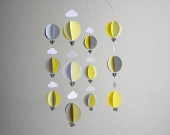 "Hot Air Balloon Baby Mobile ""Hello, Yellow!"" - Retro Baby Mobile - Scandi Baby - Cloud Mobile - Nursery Decor - Gender Neutral Baby Decor"