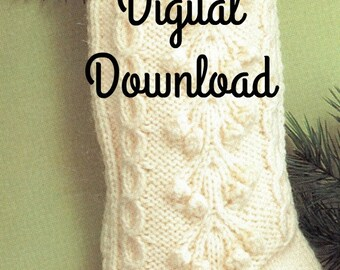 Christmas Stocking, Fisherman Knit, Vintage Christmas Sock, Holiday Decorating Pattern, PDF Instant, Digital Download, Retro