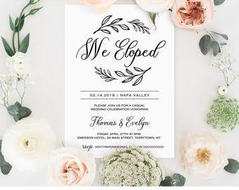 Elopement Announcement Template Wedding Elope Invitation - Party invitation template: elopement party invitation template
