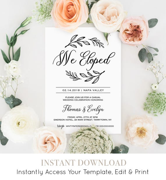 We Eloped Invitation Template, Printable Elopement Announcement, Rustic Wedding Reception Party, Instant Download, Fully Editable #027-107EL