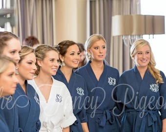 MONOGRAMMED ROBES - Navy Cotton Bridesmaid Robes - Bridesmaid Gift - Bridal Party Robe - Getting Ready Robes - Bridesmaid Robe Set - Kimono
