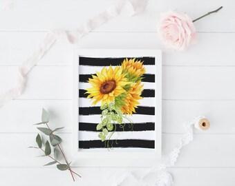 PRINTABLE Art Sunflower Stripe Floral Kitchen Decor Kitchen Art Print Kitchen Wall Art Sunflower Watercolor Floral Art Print Lemon Art Print