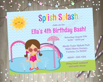 Splash Pad Birthday Party Invitation Invite Splish splash Bash Water Park CHOOSE YOUR GIRL