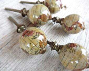 World GLOBE Travel Atlas Map KNOB = Cabinet Dresser Drawer Pulls Handle Knobs