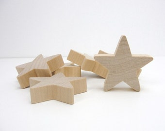 "6 Wooden 2 inch stars, Traditional 2"" x 1/2"" star wood chunky unfinished DIY"