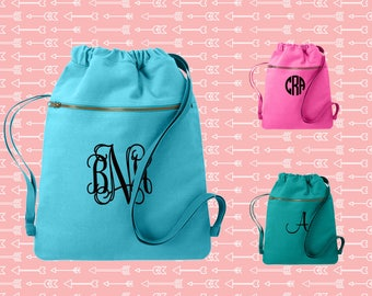 Monogrammed Cinch Saks, Canvas Cinch Sack, Tween Gift, Teen Custom Bag, Birthday Gift, Comfort Colors Cich Bag