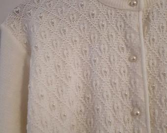 Vintage petite pearl cardigan
