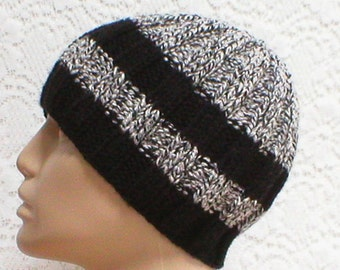 Black gray white tweed beanie hat, toque, mens womens knit hat, striped hat, black gray white hat, beanie hat, chemo cap, biker hiking hat