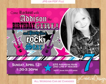 rockstar birthday rockstar invitation rock star invitation rocker invitation rock star birthday rock star party rockstar party girl photo