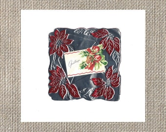1950s Metal Foil - Christmas Greetings Card - Flip Open Paper Center - Red Poinsettias - Silver Background