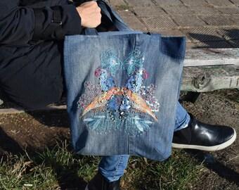 Denim Crossbody Bag, Denim Handbag, Denim Shoulder Bag, Denim Bag with,personalized bag embroidered bag, Boho Beach Bag, Boho Hippie Handbag