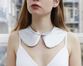 Silver Detachable Fashion Collar - Peter Pan Style - Handmade in Berlin - Fabric Collar - Collar Accessory- Upcycled Material - Sustainable