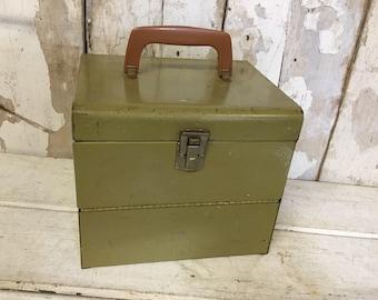 Vintage Metal Box, Vintage  Movie Reel Storage Box, Logan De luxe Movie Reel Chest