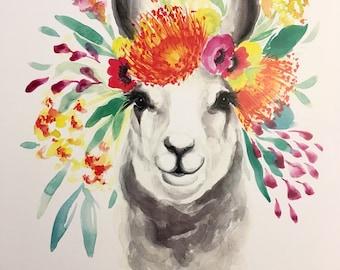 Spring Llama Watercolor PRINT