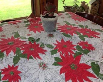 Christmas Holiday Tablecloth Vintage Christmas Tablecloth Vintage Holiday Tablecloth Poinsettia Tablecloth