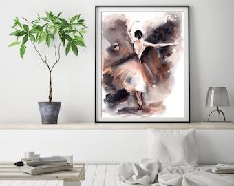 Ballerina fine art print, ballet dance watercolor painting art, ballerina modern wall art print, brown grey ballet watercolor print
