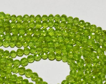 """14"""" line 4mm AAA PERIDOT round faceted beads per002 we recommend 0.010in 0.25mm wire"""