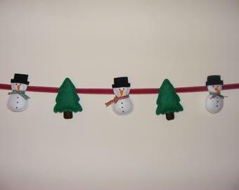 Felt Snowman and Christmas Tree Garland
