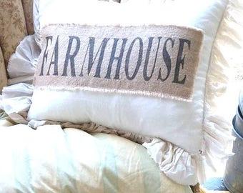 Pillow Slip Cover Pillow Sham  Burlap Muslin Pillow Sham PILLOW CASE w/ FARMHOUSE