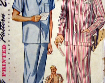 Vintage 1945 Simplicity 2051 Men's Pajamas Size Small Chest 34-36 Inches Uncut Complete