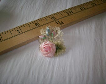 rare silk satin antique authentic ribbon work stamens and lace pin
