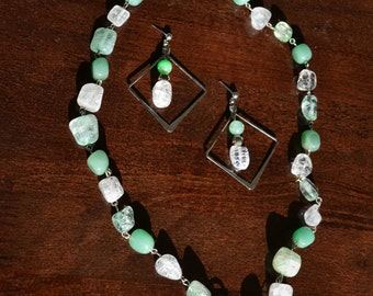 Crystal and jade jewelry set