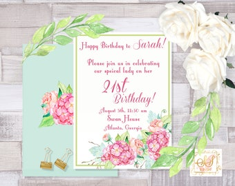 Pink Hydrangea Birthday/Invitation/Printable/5x7 Digital Download