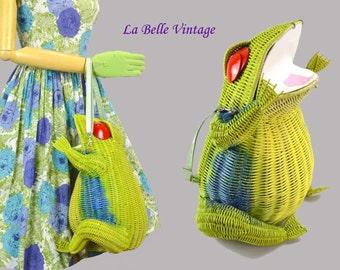 RESERVED**** HUGE Wicker Frog Purse Vintage Convertible Shoulder Bag ~ Custom Creation