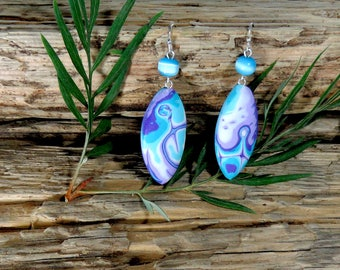 Turquoise Earrings, Polymer Clay Earrings,Turquoise, Purple and White Earrings, Abstract Pattern Earrings, Mokume Gane Technique Earrings