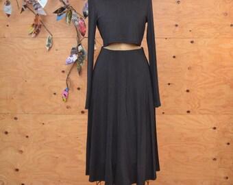 Vintage 90's All Black Skirt Suit Cropped Top A-line Cut SZ Medium