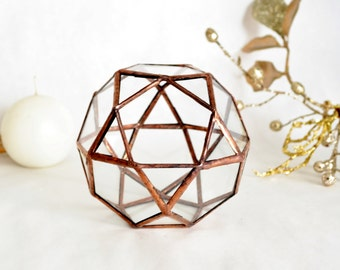 Terrarium, Candle Holder, Stained Glass planter,  Geometric Terrarium, Christmas Gift, New Year's Gift.