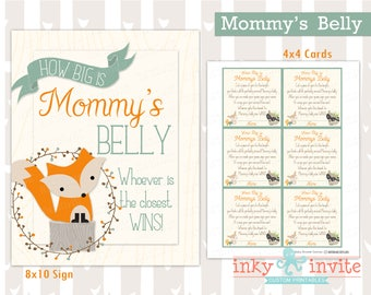 Sweet Woodland Baby Shower Game Mommy's Belly Game Instant Download Boy\Girl | Forest Friends Baby Shower Guess Baby Bump | Woodland Animals