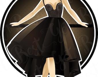 Woman in black dress, Clipart, Vector art, Fashion, Fashion women, Clip art, Digital, Digital download, PNG 300dpi, Fashion Illustration