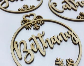 Customized Name Ornament / Wood Name Ornament / Laser Cut Wood / Custom Ornament / Custom Christmas Ornament