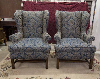 Vintage Pair Wingback Chairs Damask Pattern Chairs