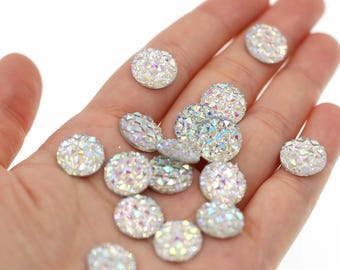 12mm Iridescent Rainbow Clear Faux Druzy Crystal Clusters Cabochons Small DIAMOND Nuggets