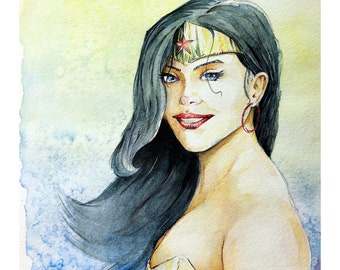 "Wonder Woman Portrait - Watercolor Painting - 11"" x 15"" Limited, #'d Edtion, Print run of 25"