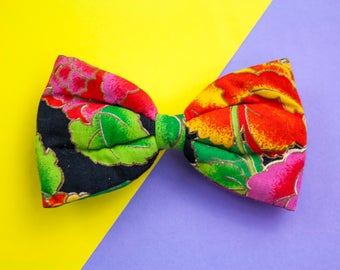 Vintage Bow, Hair Bow, Fabric Bow, Bright, 80s Bow, Hair Clip, Barrette, Colourful, 80s Fancy Dress, Cyndi Lauper, Madonna, Hair Accessory