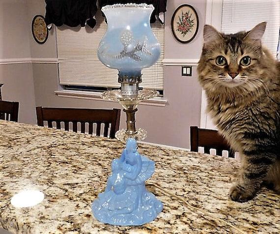 Blue Depression Glass Lamp / Ballerina