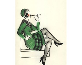 Art Deco fashion illustration  - Jazz Baby - print - 4 for 3 Sale