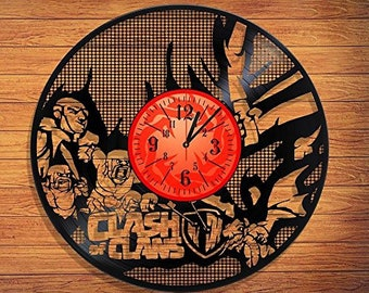 "Clash of Clans VINYL RECORD CLOCK made from 12"" Vinyl Record best gift for kids bedroom gift for gamers Moba"