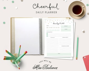 Daily Planner Printable, To Do List, Printable Daily Schedule, Day Organizer, Desk Planner, A4, Letter 8,5x11 in, INSTANT DOWNLOAD