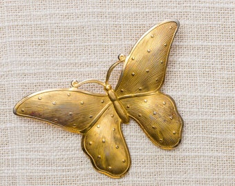Gold Vintage Butterfly Brooch Mod Broach Vtg Pin 7ii