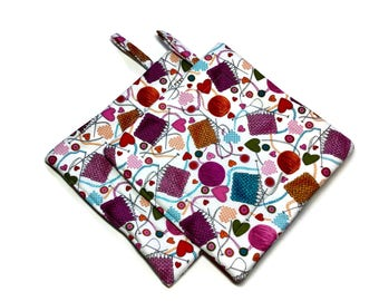Quilted Pot Holders Knitting Hot Pads Pink Purple Potholders