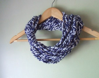 Blue White Scarf / Baseball Scarf / Football Scarf / Hockey Scarf / Rugby Scarf / Scarf Necklace / Infinity Chain Scarf / Blue Scarf