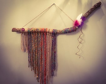 Natural, Colorful and Rustic Yarn and Branch Wall Hanging