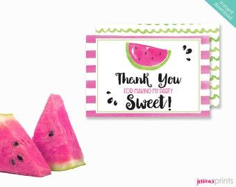 Instant Download Watermelon Printable Thank You Card, Watermelon Thank You Note Card, Watermelon Party Printable, Pink Watermelon