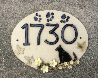 House number sign, ceramic house plaque,  housewarming or gift for cat lover, 8.5 x 7 inches.