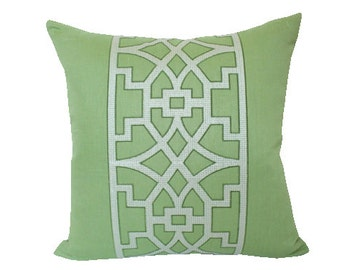 Mary McDonald Don't Fret Pillow Cover for Schumacher in Lettuce Green