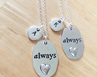 SET OF 2 Always Friends Necklace Always charm Best Friend necklace, Silver Always Pendant Always Harry Potter,Best Friend Jewelry, set of 2
